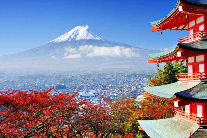Mount Fuji, Japan, http://www.shutterstock.com/de/pic-147744140/stock-photo-mt-fuji-with-fall-colors-in-japan.html