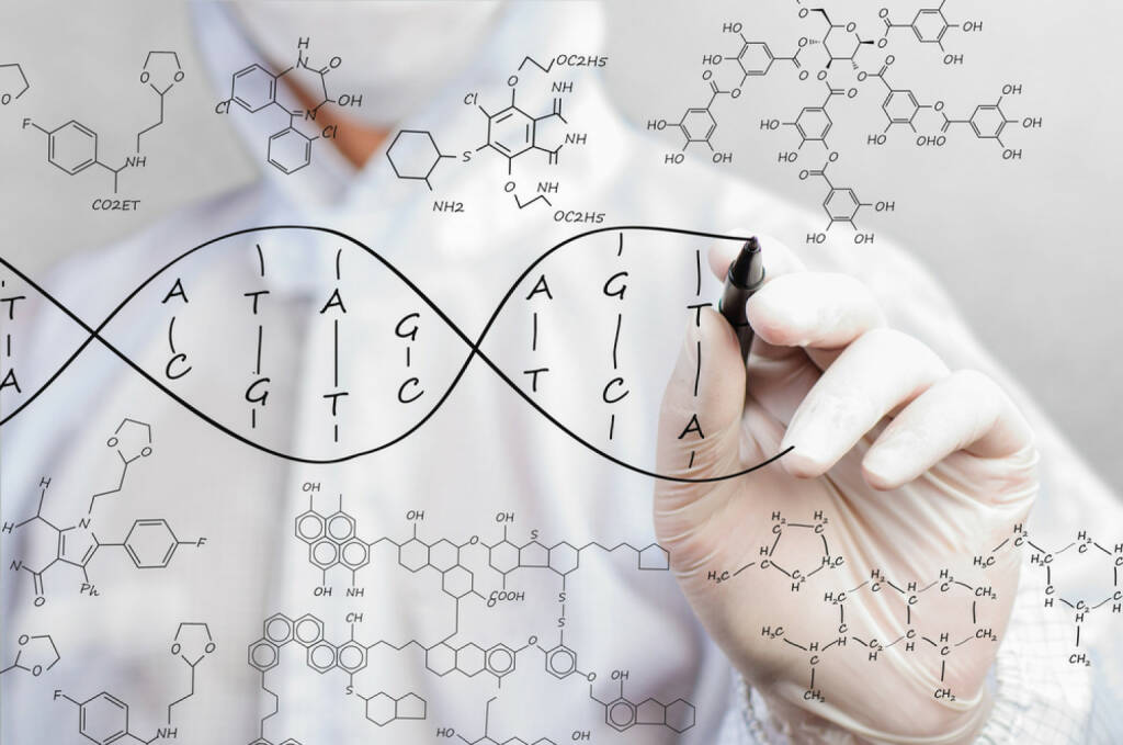 Formel, Chemie, DNA, Wissenschaft, Biotech, Pharma, Forschung, Erbgut, http://www.shutterstock.com/de/pic-189666014/stock-photo-scientist-sketching-dna-structure.html (09.08.2014)