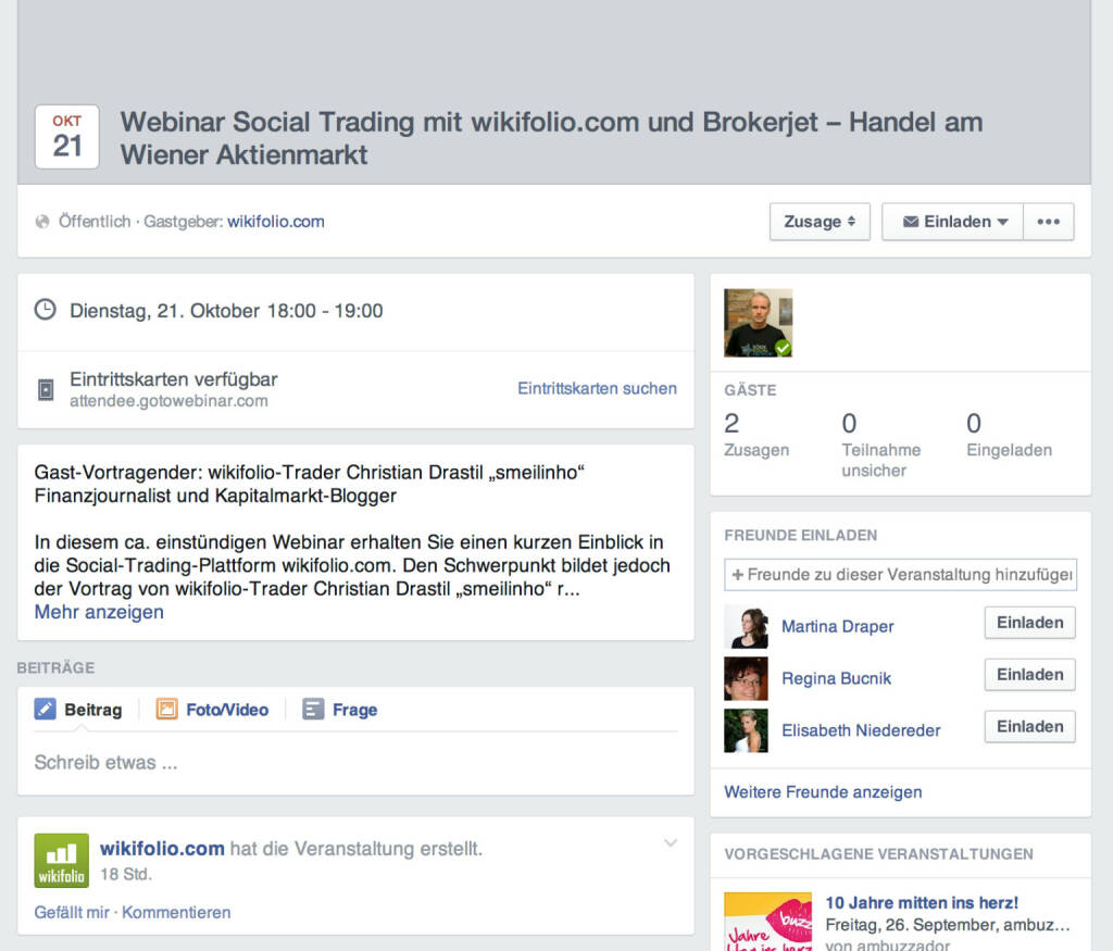 Webinar Social Trading mit wikifolio, Brokerjet und Börse Social Network am 21. Oktober https://www.facebook.com/events/650891428339705/ (12.08.2014)
