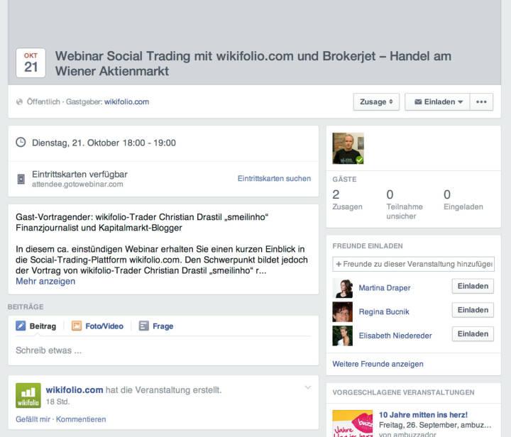 Webinar Social Trading mit wikifolio, Brokerjet und Börse Social Network am 21. Oktober https://www.facebook.com/events/650891428339705/