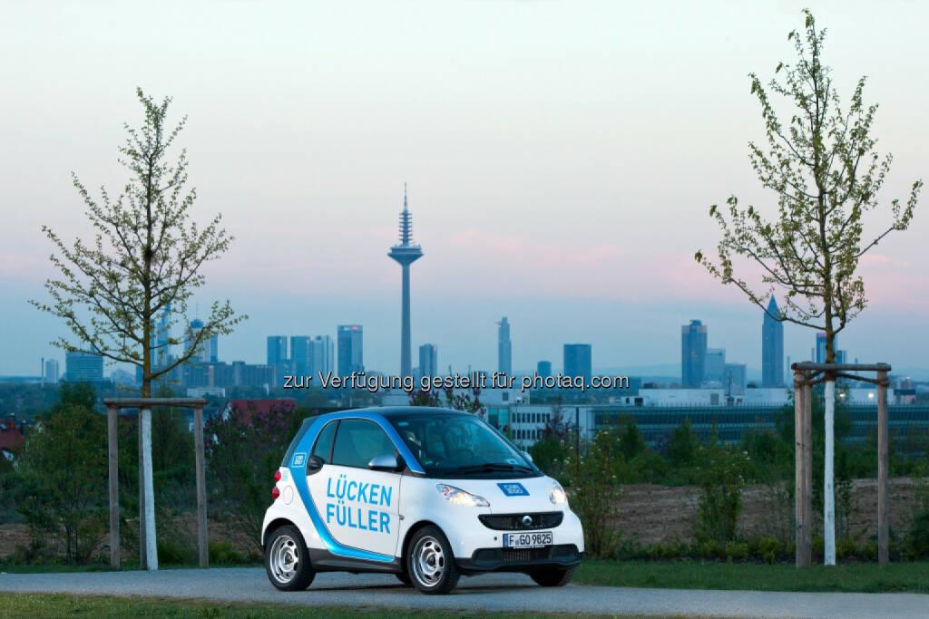 car2go: Die Mainmetropole Frankfurt wird der achte car2go Standort in Deutschland. Am 8. September startet der Marktführer im free-floating Carsharing mit einer Flotte von 250 smart fortwo Fahrzeugen., © Aussendung (14.08.2014)