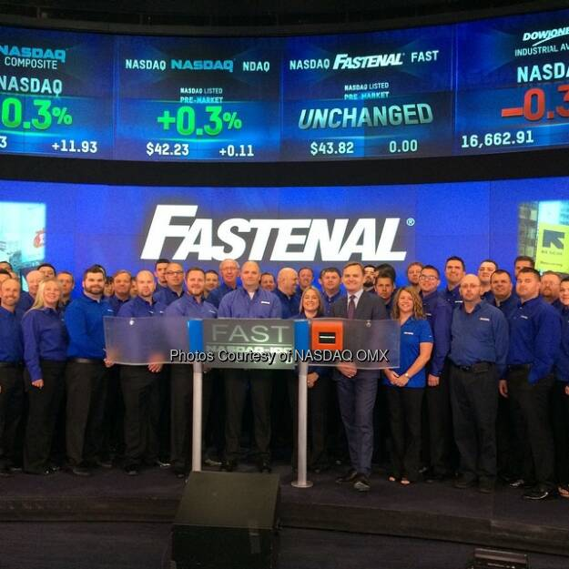 Fastenal rings the #NASDAQ Opening Bell! #N100 #dreamBIG $FAST  Source: http://facebook.com/NASDAQ (18.08.2014)