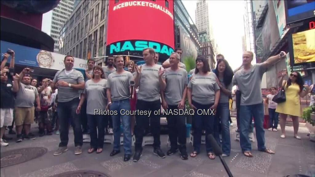 Team #NASDAQ has completed the #IceBucketChallenge to raise awareness about ALS (The ALS Association). We now nominate Fox Business' Maria Bartiromo, GoPro's CEO Nick Woodman and our very own co-president Adena Friedman to #StrikeOutALS. You all have 24 hours to complete the challenge! Thanks to BATS Global Markets for the nomination.  Source: http://facebook.com/NASDAQ (19.08.2014)