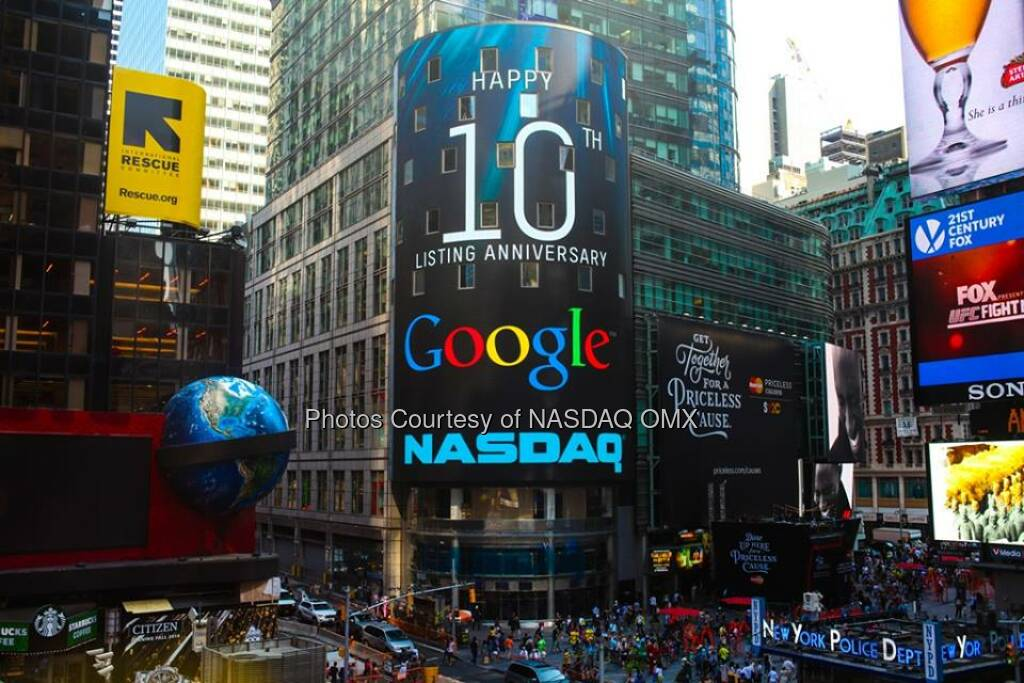 Happy 10th Listing Anniversary to Google! Congratulations and on a decade of being #NASDAQListed  Source: http://facebook.com/NASDAQ (19.08.2014)
