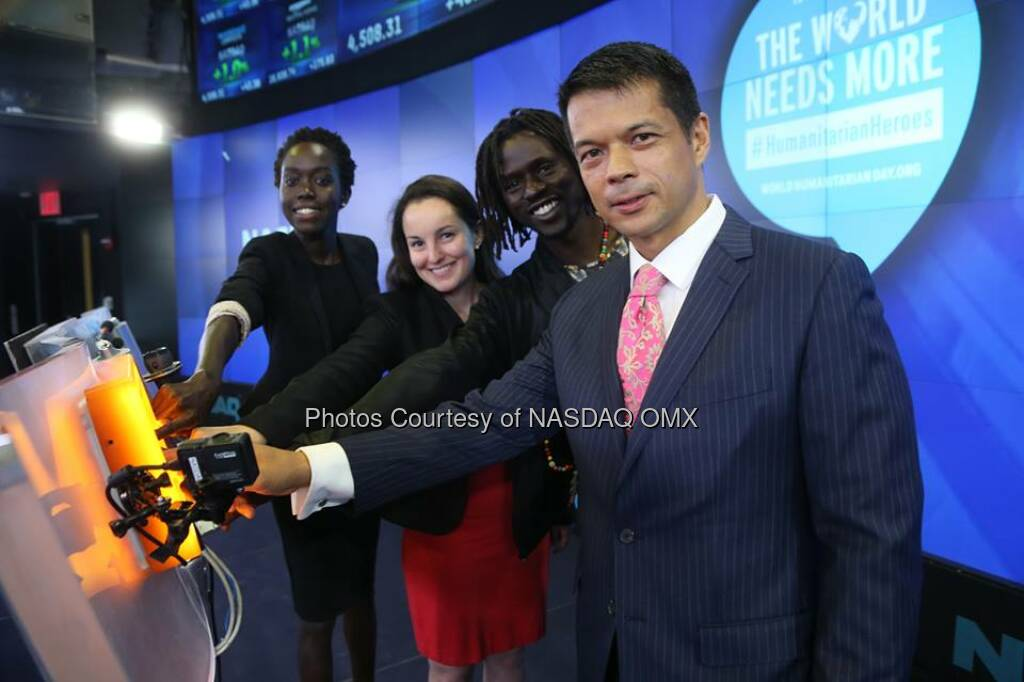 Today is World Humanitarian Day, and we're honouring #HumanitarianHeroes at the bell  Source: http://facebook.com/NASDAQ (19.08.2014)