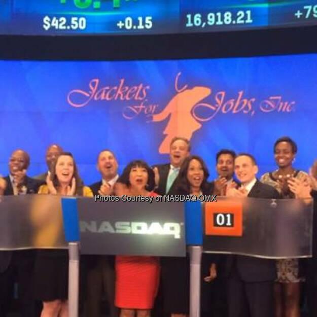 Watch Jackets for Jobs ring the #NASDAQ Closing Bell! #dreamBIG  Source: http://facebook.com/NASDAQ (20.08.2014)
