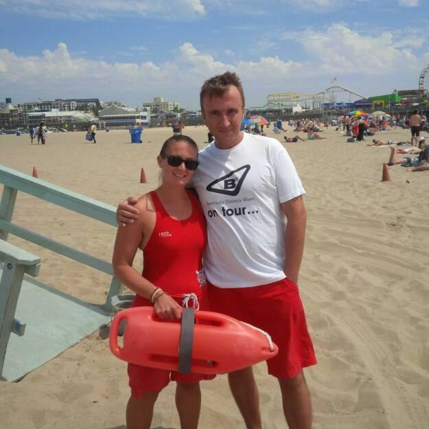 Herbert Hasselhoff Gmoser meets Santa Monica Lifeguard , © diverse Handypics mit freundlicher Genehmigung von photaq.com-Freunden (20.08.2014)