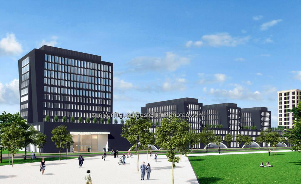 Arnulfpark München: Bürogebäude Kontorhaus, Ansicht Nordost (Visualisierung) (Bild: CA Immo) (21.08.2014)