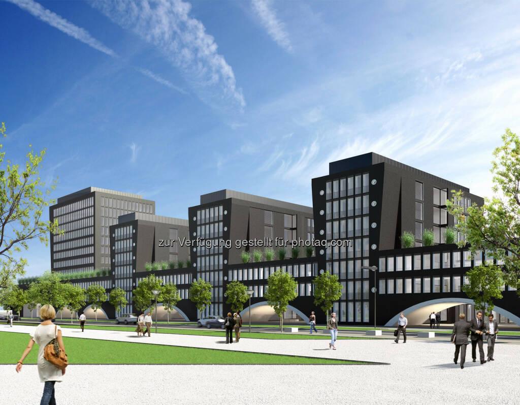 Arnulfpark München: Bürogebäude Kontorhaus, Ansicht Nordwest (Visualisierung) (Bild: CA Immo) (21.08.2014)