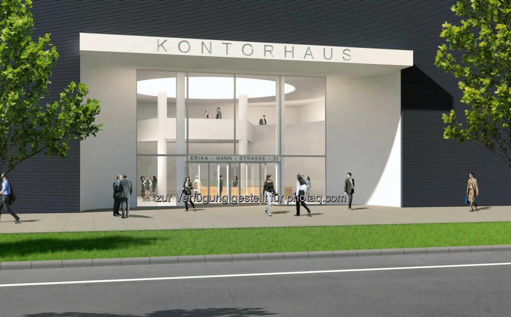 Arnulfpark München: Bürogebäude Kontorhaus, Haupteingang (Visualisierung) (Bild: CA Immo) (21.08.2014)