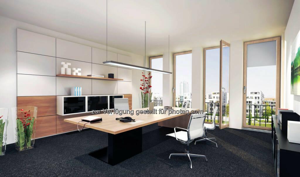 Arnulfpark München: Bürogebäude Kontorhaus, Chefbüro (Visualisierung) (Bild: CA Immo) (21.08.2014)