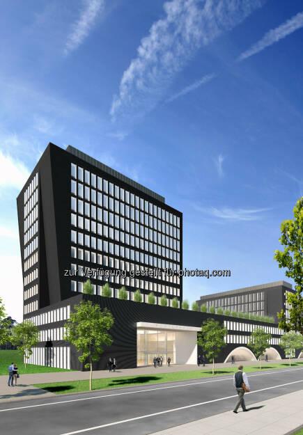 Arnulfpark München: Bürogebäude Kontorhaus, Ansicht Turm (Visualisierung) (Bild: CA Immo) (21.08.2014)