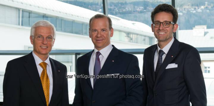 Der BTV Vorstand Matthias Moncher, Peter Gaugg und Gerhard Burtscher (v. l.) freuen sich über das solide Halbjahresergebnis. Bank für Tirol und Vorarlberg Aktiengesellschaft: Bank für Tirol und Vorarlberg AG / BTV schafft Sicherheit dank Wachstum (c) BTC