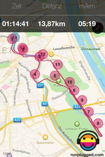 Runplugged Map: Ringturm - Lusthaus und zurück im Plaudertempo (22.08.2014)