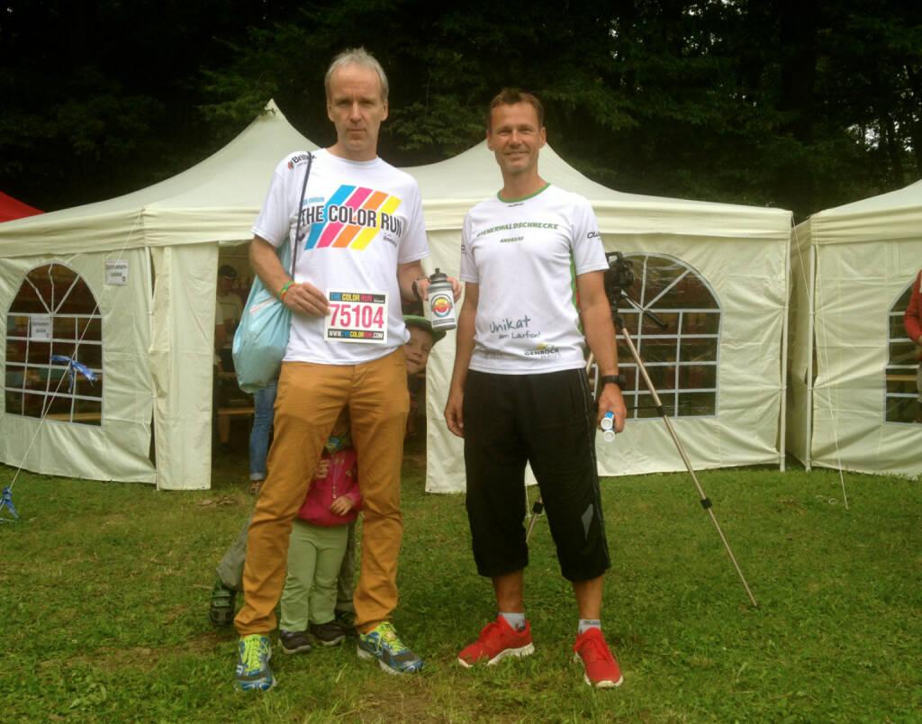 Christian Drastil (Runplugged), Andreas Schweighofer (Veranstalter Wienerwaldlauf) am Tag vor dem Rennen (24.08.2014)