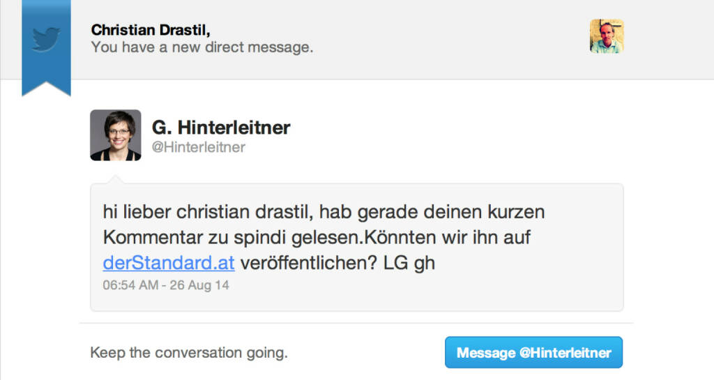 Tour de Friends spezial: Die geschätzte standard.at-Chefin Gerlinde Hinterleitner hat angefragt, ob Postings zweitveröffentlicht werden dürfen. Antwort natürlich ja. (26.08.2014)