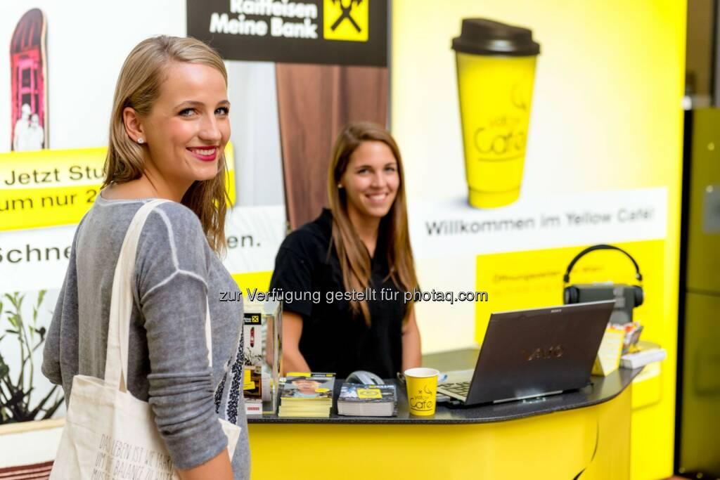 Raiffeisenlandesbank NÖ-Wien AG: Kaffee, Kalender, Kommunikation - das Yellow Café auf der Universität Wien hat geöffnet, © Aussender (26.08.2014)