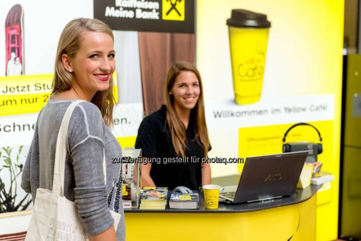Raiffeisenlandesbank NÖ-Wien AG: Kaffee, Kalender, Kommunikation - das Yellow Café auf der Universität Wien hat geöffnet