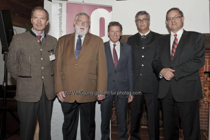 Karlheinz Töchterle unter der Moderation von Gustav Dressler (Generali Gruppe) mit mc-Mitgliedern und Gästen:  mc-Europafrühstück in Alpbach