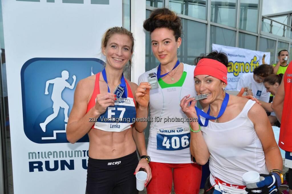 Lenka Svabikova (CZ) 2. Platz, Maria-Theresa Handlbauer (A) Siegerin, Manuela Hartl (D), 3. Platz, © leisure.at/Matthias Buchwald (28.08.2014)
