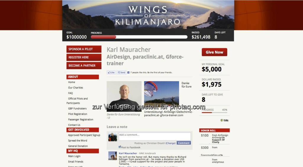 http://wingsofkilimanjaro.kintera.org/faf/donorReg/donorPledge.asp?ievent=1041962&supId=368156140 - die persönliche kilimanjaro-Website von Karl Mauracher, da mischt sich http://www.christian-drastil.com und http://www.finanzmarktfoto.at gerne unter die Donater, © Karl Mauracher (19.01.2013)
