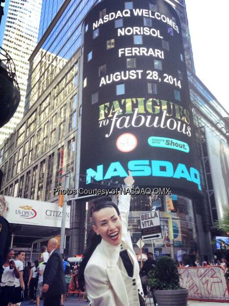 Great to have Fatigues2Fabulous and Norisol Ferrari at the #NASDAQ MarketSite to ring the closing bell!  Source: http://facebook.com/NASDAQ (29.08.2014)