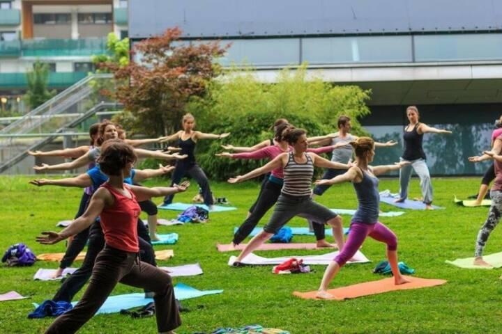 Einblicke in Anusara-Yoga mit Monika Kletzmayr. Yoga-Wiese im Augartenpark Graz (c) Marija Kanizaj