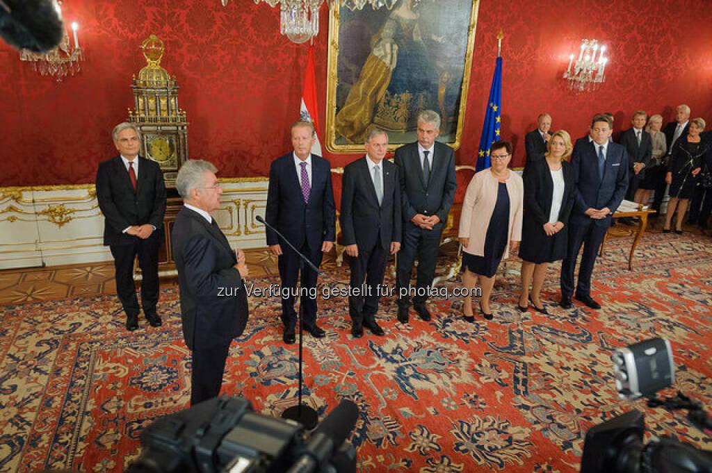 Angelobung der neuen Regierungsmitglieder durch Bundespräsident Heinz Fischer am 1. September 2014, © SPÖ/Lehmann (02.09.2014)