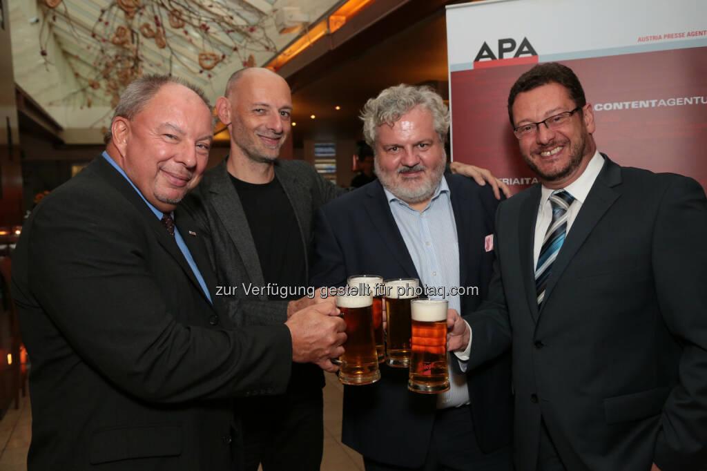 Werner Müllner, Marcus Hebein, Johannes Bruckenberger und Michael Lang (APA-Chefredaktion) - Beim Bierigen im Alten AKH begrüßte die APA mehr als 400 Gäste aus Medien und Kommunikation (Bild: APA-Fotoservice/Schedl), © Aussender (02.09.2014)