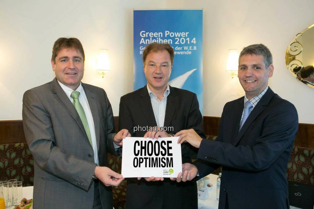 Vorstand W.E.B Windenergie AG: Frank Dumeier (Technik & Vertrieb), Andreas Dangl (Vorstandsvorsitzender), Michael Trcka (Finanzen), Choose Optimism, © Martina Draper/photaq (02.09.2014)