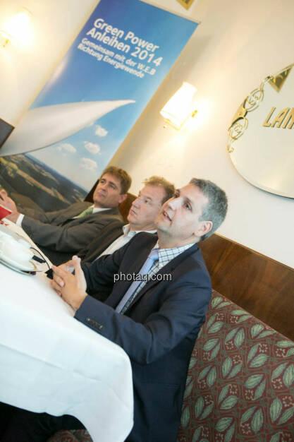 Frank Dumeier (Vorstand W.E.B Windenergie AG), Andreas Dangl (Vorstandsvorsitzender W.E.B Windenergie AG), Michael Trcka (Vorstand W.E.B Windenergie AG), © Martina Draper/photaq (02.09.2014)