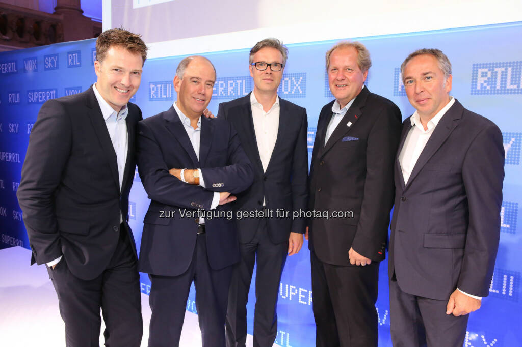 Die Senderchefs der Mediengruppe RTL, Claude Schmit (Super RTL), Andreas Bartl (RTL II), Bernd Reichart (VOX) und Frank Hoffmann (RTL), präsentierten die Highlights 2014/15: IP-Programmparty 2014, © Aussendung (03.09.2014)