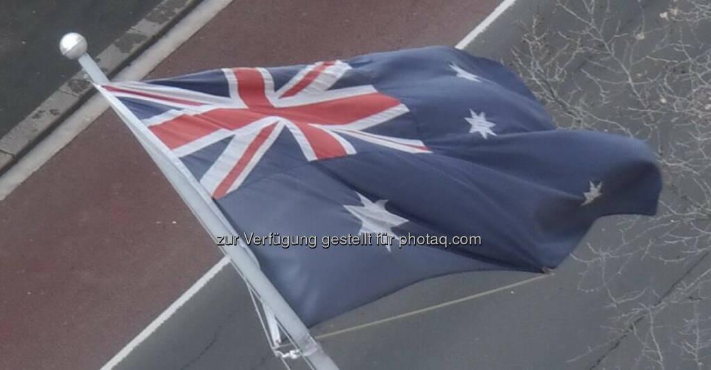 Gerald Pollak nun in Australien im Rahmen seiner YPD-Reise. Fahne, Australien, © Gerald Pollak (04.09.2014)
