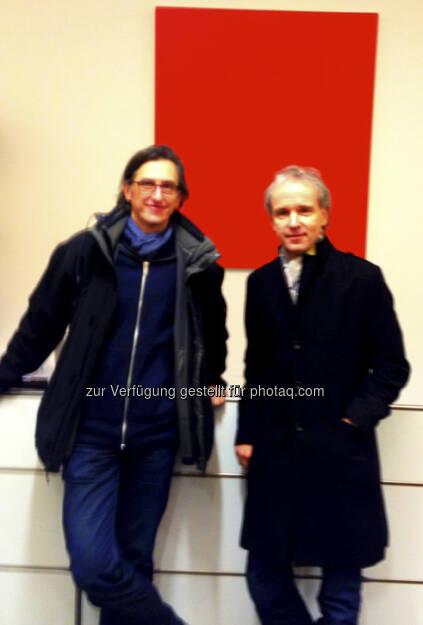 Josef Chladek, Christian Drastil - fotografiert vom Anwalt, der heute die Gründung jener Firma eingeleitet hat, die auch das Projekt http://www.finanzmarktfoto.at hosten wird (21.01.2013)