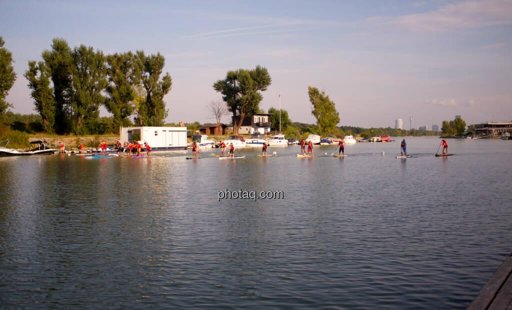 Blick auf die Donaucity - Wiener SUP-Meisterschaften 2014 in der Kuchelau (08.09.2014)