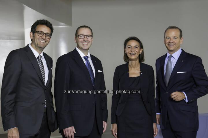 Gerhard Burtscher (BTV Vorstand), Josef Sebesta (BTV Vertriebsleiter Privatkunden Wien), Martina Pagitz (BTV Vertriebsleiterin Firmenkunden Wien) und Peter Gaugg (BTV Vorstandssprecher): 25 Jahre Bank für Tirol und Vorarlberg AG in Wien