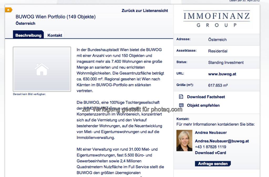 Das Buwog-Wien-Portfolio unter http://properties.immofinanz.com/ (c) Immofinanz (23.01.2013)