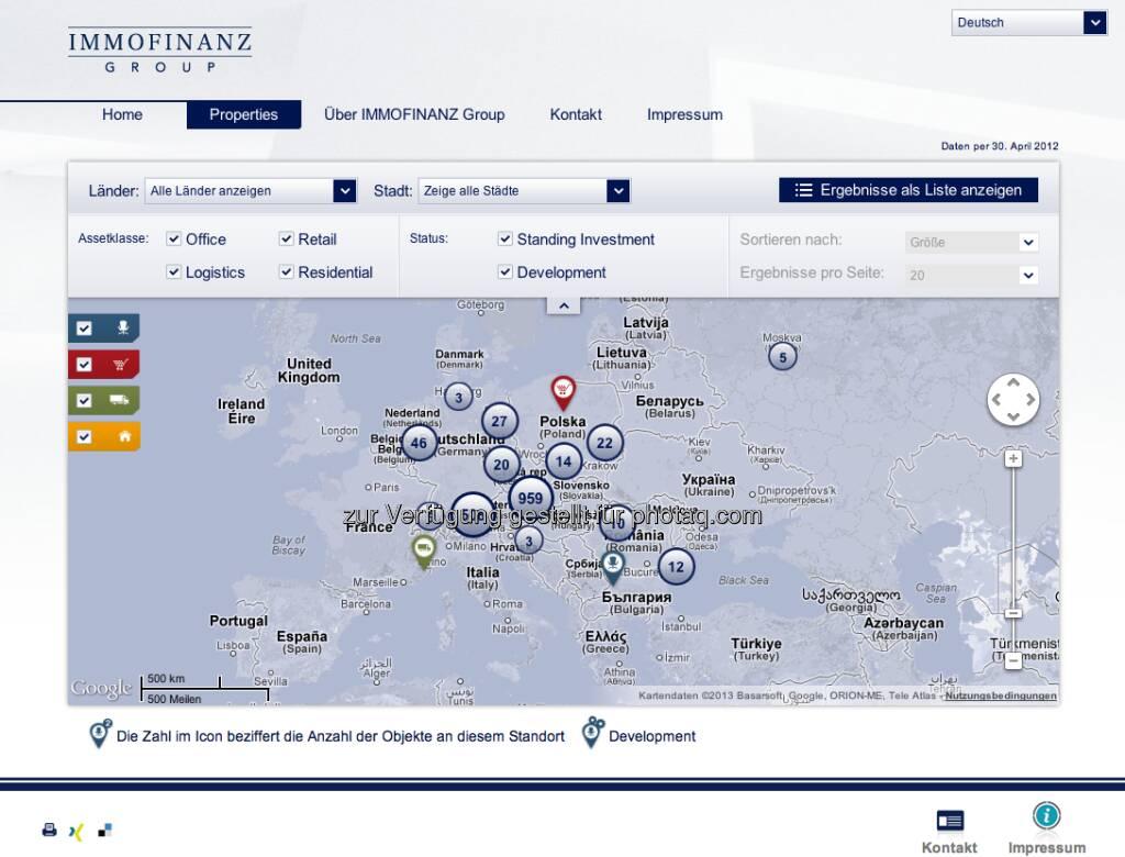 http://properties.immofinanz.com/ Fotos und Infos zu mehr als 1600 Immobilien, eine neue Benchmarkt - siehe auch http://finanzmarktfoto.at/page/index/180 (23.01.2013)