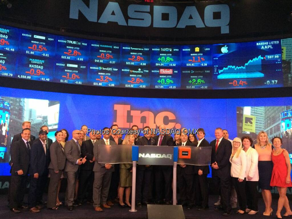 Inc 5000 rings the #NASDAQ Closing Bell! #dreamBIG @Inc @inc5000  Source: http://facebook.com/NASDAQ (10.09.2014)