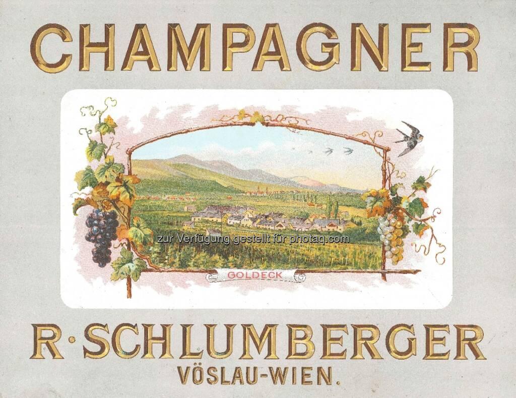 Schlumberger feiert 200 Jahre Robert Alwin Schlumberger: Historische Werbung für Schlumberger Champagner um 1900, © Aussender (11.09.2014)