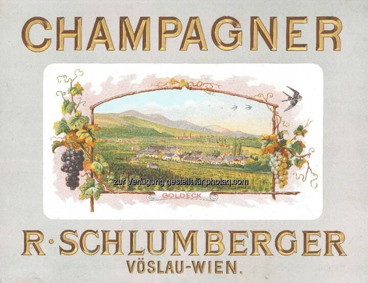 Schlumberger feiert 200 Jahre Robert Alwin Schlumberger: Historische Werbung für Schlumberger Champagner um 1900