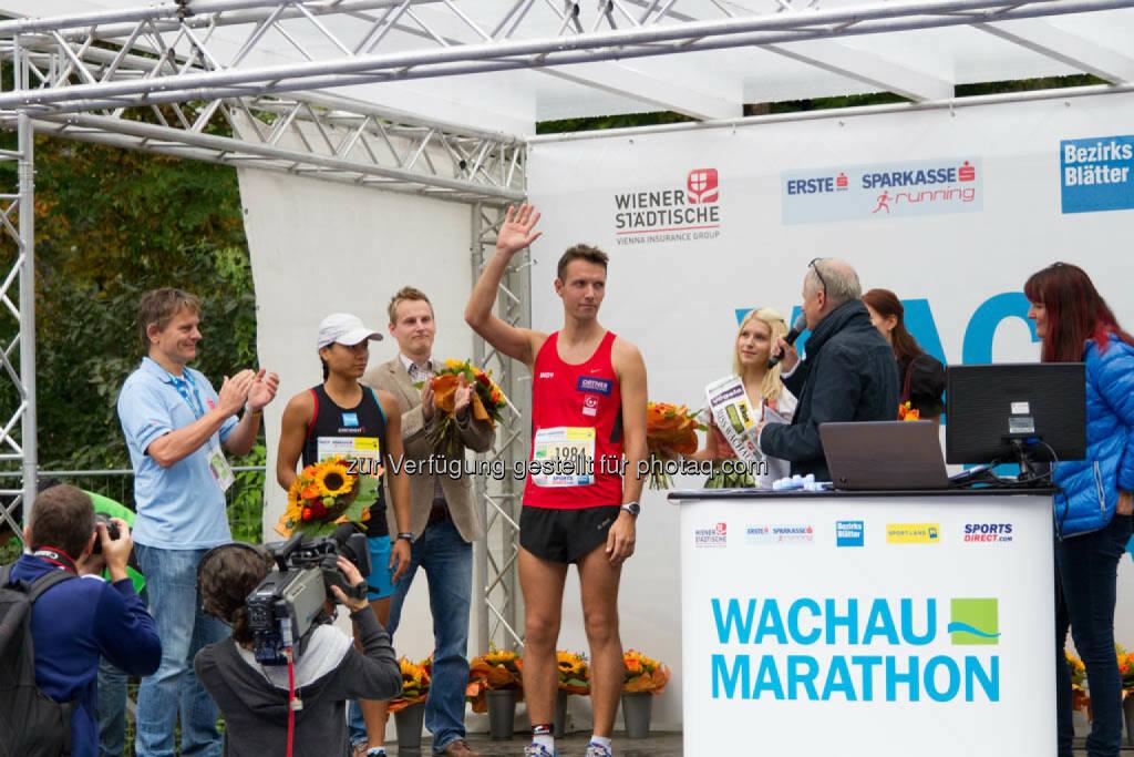 Stieglechner Andreas, 3. Platz Viertelmarathon Herren, Wachau Marathon 2014, © Milena Ioveva  (14.09.2014)