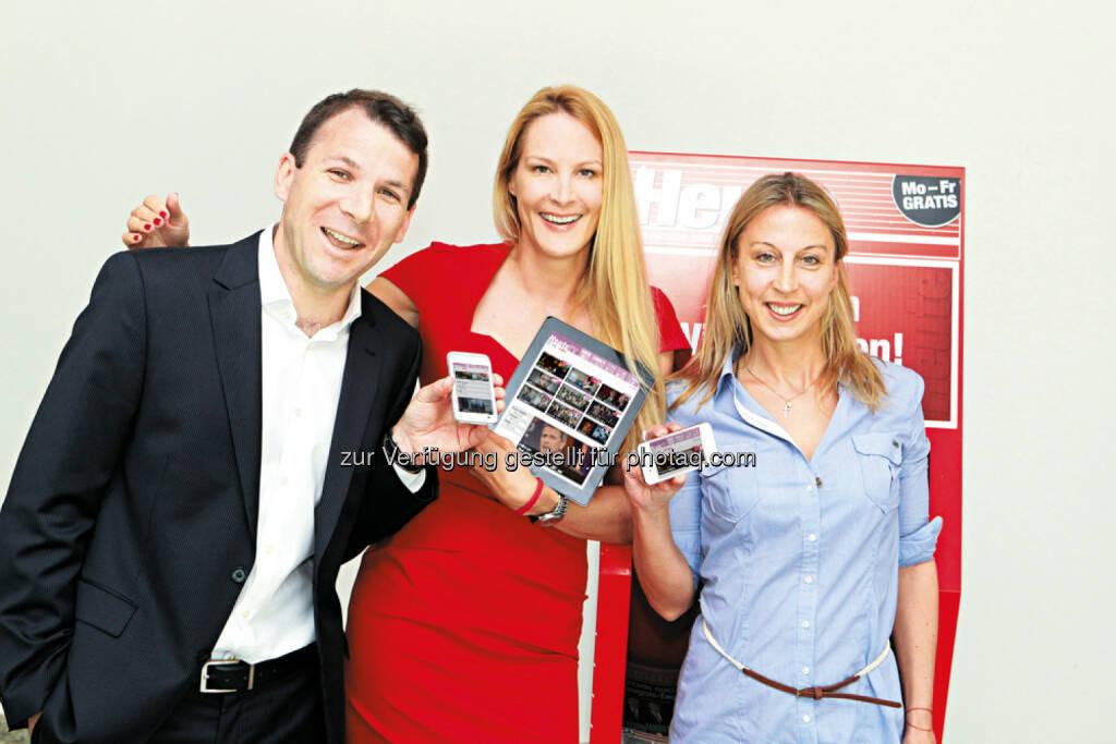 Christof Hinterplattner, Eva Dichand und Maria Jelenko - AHVV Verlags GmbH: Relaunch für Heute.at: Schneller, bequemer, übersichtlicher (Bild: AHVV), © Aussender (16.09.2014)