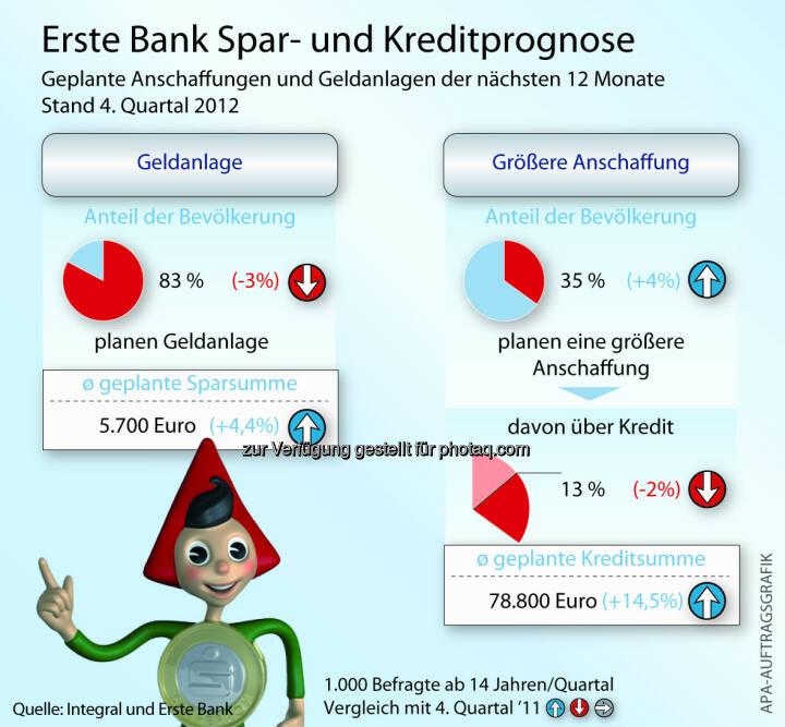 Österreicher: Geplante Anschaffungen und Geldanlagen der nächsten 12 Monate (c) Erste Bank / Aussendung
