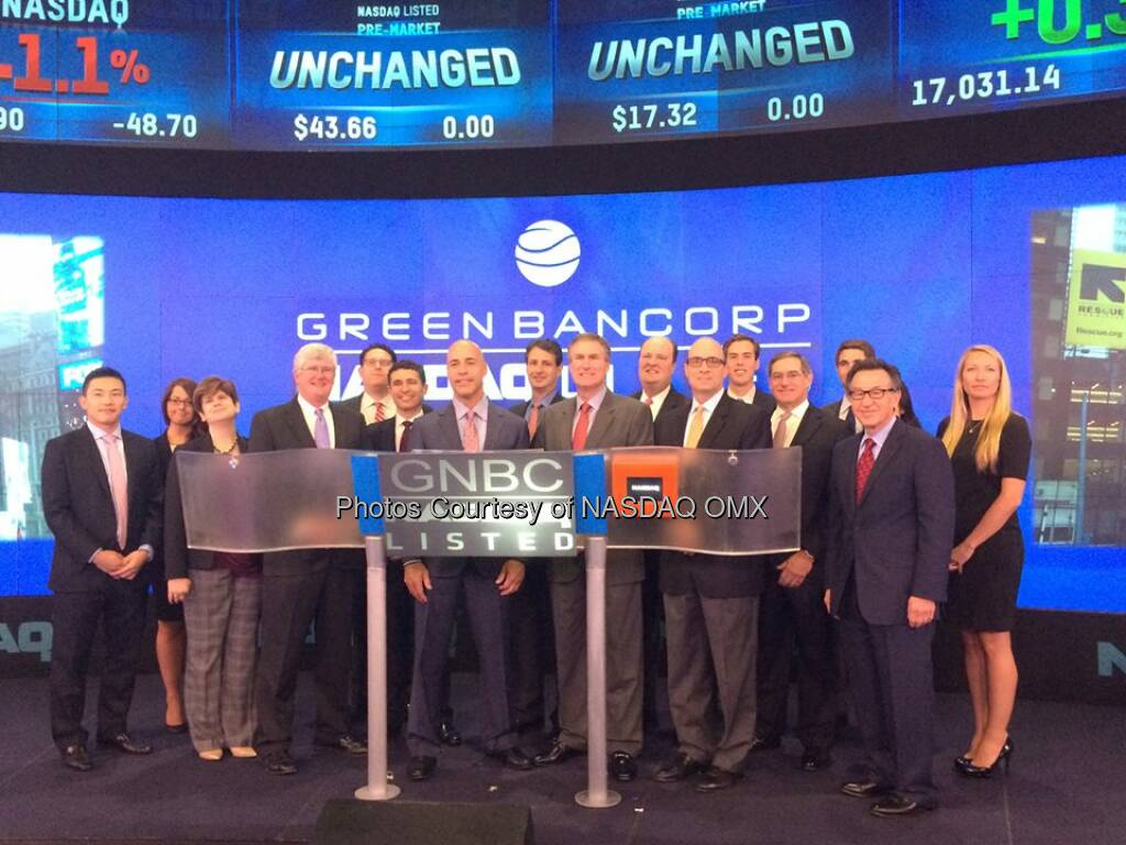 Green Bancorp, Inc. rings the #NASDAQ Opening Bell $GNBC  Source: http://facebook.com/NASDAQ (16.09.2014)