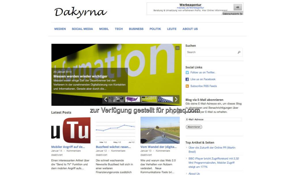 http://www.dakyrna.at/ - Da Kyrna ist Der Kürner, also voestalpine-Sprecher Gerhard Kürner, der hier einen genialen Blog und Aggregator zum Wandel der (Medien)Welt aufgrund der Digitalisierung liefert ... (25.01.2013)