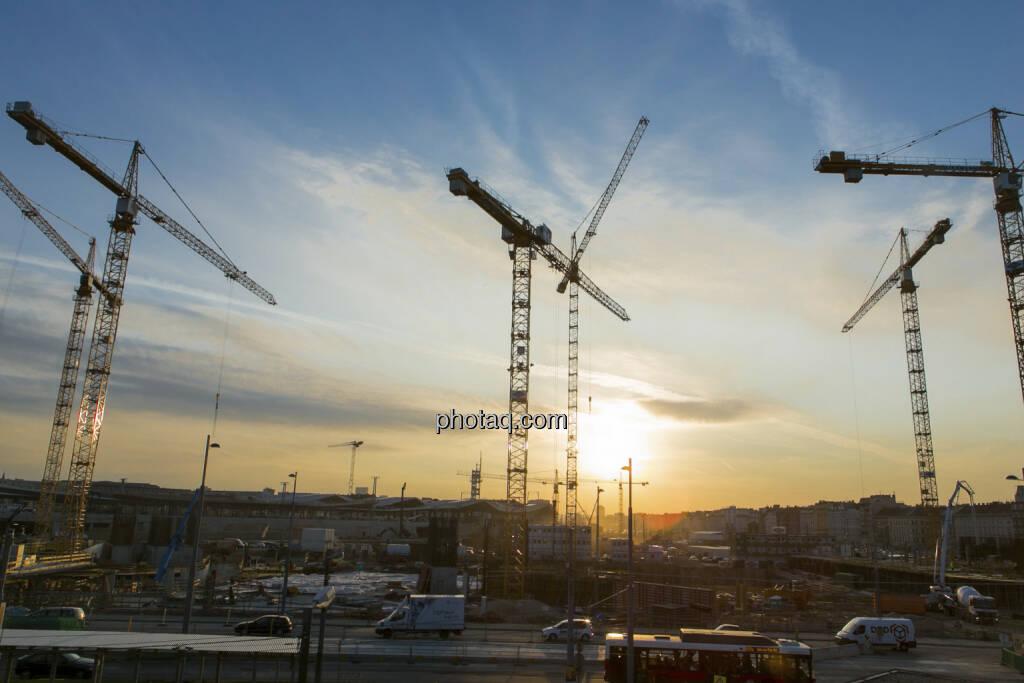 25 Jahre S Immo, Baukräne, Abendstimmung, © Martina Draper (15.12.2012)