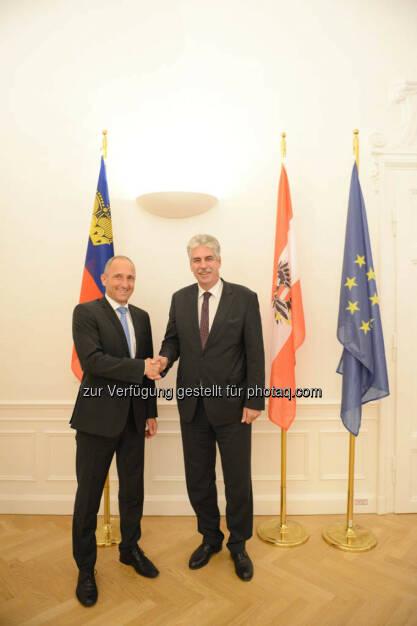 Regierungschef Adrian Hasler (Liechtenstein) und Finanzminister Hans Jörg Schelling, © Finanzministerium (22.09.2014)