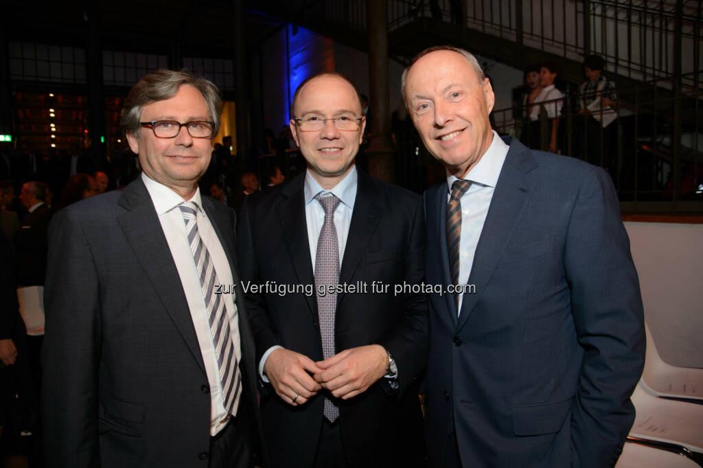 Alexander Wrabetz (ORF General), Alexander Sperl (CMO A1) und Wolfgang Ruttenstorfer (AR Vienna Insurance Group), © Telekom Austria Group / Rainer Eckharter (24.09.2014)
