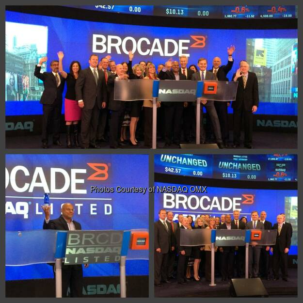 Brocade Communications Systems, Inc. Rings the #NASDAQ Opening Bell! #dreamBIG $BRCD @BRCDcomm  Source: http://facebook.com/NASDAQ (25.09.2014)
